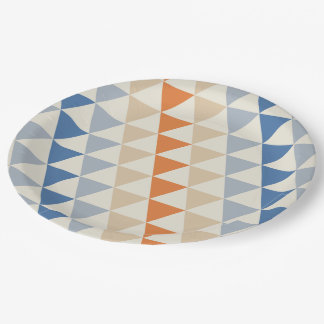 Contrasting Blue Orange And White Triangle Pattern Paper Plate
