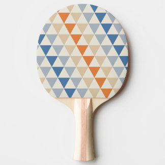 Contrasting Blue Orange And White Triangle Pattern Ping-Pong Paddle