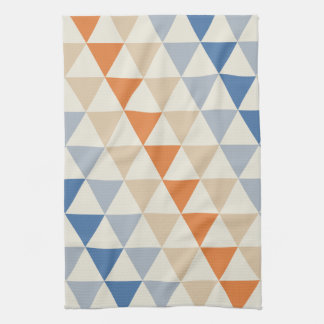 Contrasting Blue Orange And White Triangle Pattern Towel