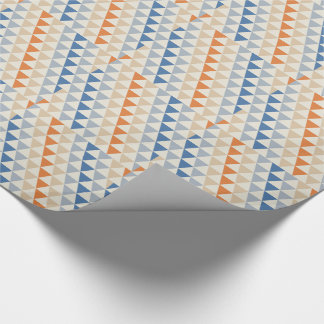 Contrasting Blue Orange And White Triangle Pattern Wrapping Paper