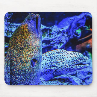 Contrasting eels mouse pad