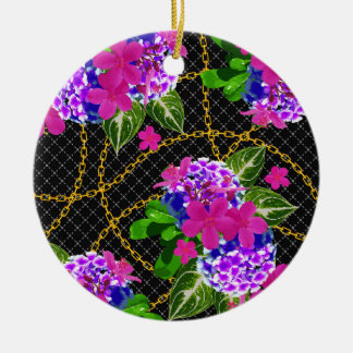 Contrasting Pink and Purple Floral & Chain Print Ceramic Ornament