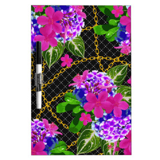 Contrasting Pink and Purple Floral & Chain Print Dry-Erase Board