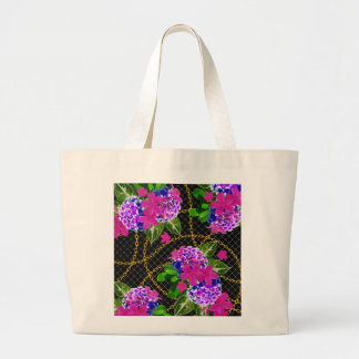 Contrasting Pink and Purple Floral & Chain Print Large Tote Bag
