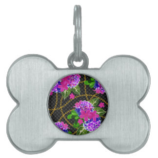 Contrasting Pink and Purple Floral & Chain Print Pet Name Tag