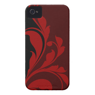 Contrasting Red Black Floral Flourish iPhone 4 Case-Mate Cases