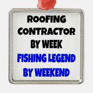 Contratista de techos de la leyenda de la pesca adorno cuadrado plateado