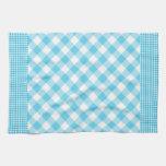 Control blanco azul del estilo rural de la cocina toallas de cocina