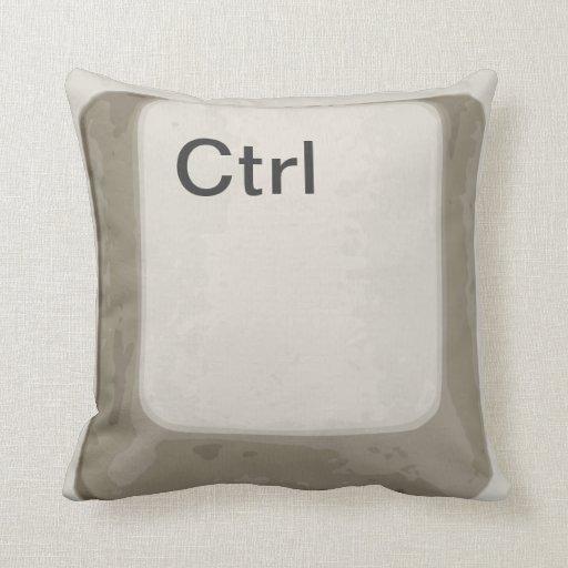 Control  / Ctrl Button / Key - White / Grey Pillow