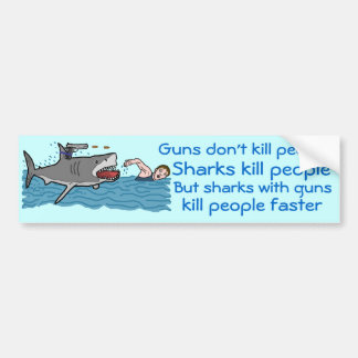 Control de armas divertido del tiburón pegatina de parachoque