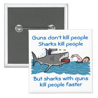 Control de armas divertido del tiburón chapa cuadrada 5 cm