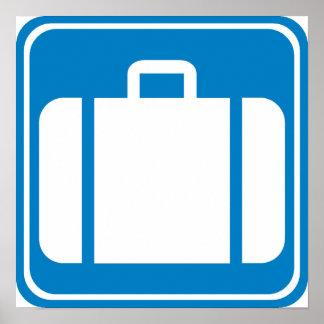 Control de equipaje/muestra de la carretera de la  póster