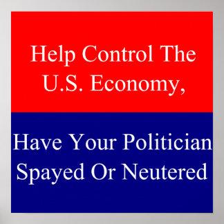 Control de la ayuda la economía de los E.E.U.U. Poster