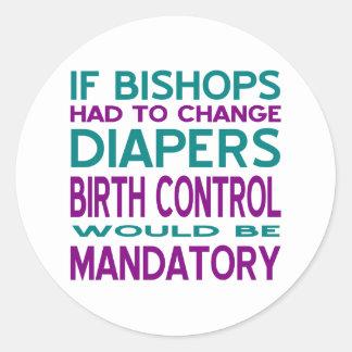 Control de la natalidad obligatorio 2 pegatinas redondas