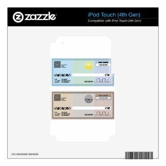 Control de prima del vale del regalo del cheque de calcomanía para iPod touch 4G