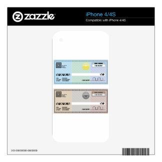 Control de prima del vale del regalo del cheque de iPhone 4S skin