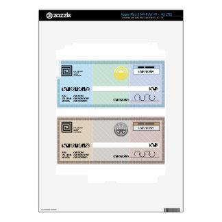 Control de prima del vale del regalo del cheque de pegatinas skins para iPad 3