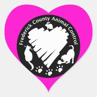 Control del animal del condado de Frederick Pegatina En Forma De Corazón