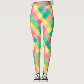 Control en colores pastel de la primavera colorida leggings