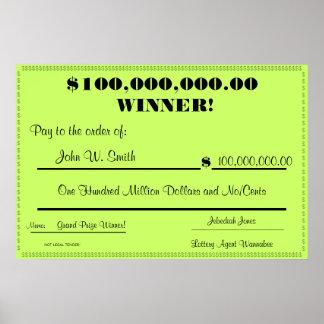 Control falso de la lotería enorme póster