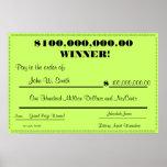 Control falso de la lotería enorme posters