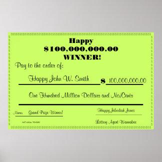 Control falso feliz de la lotería enorme póster