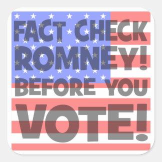 control Mitt Romney del hecho Pegatina Cuadrada