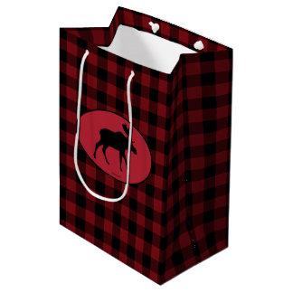 Control negro rojo de los alces bolsa de regalo mediana