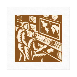Control Room Command Center Headquarter Woodcut Stretched Canvas Print