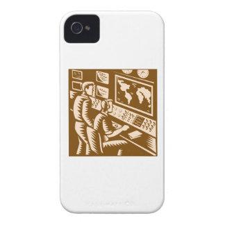 Control Room Command Center Headquarter Woodcut Case-Mate iPhone 4 Case