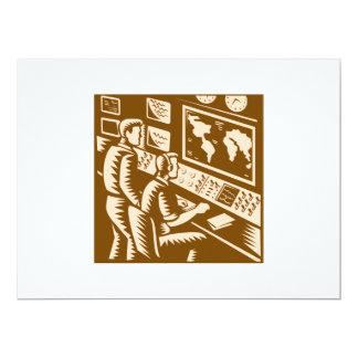 Control Room Command Center Headquarter Woodcut 6.5x8.75 Paper Invitation Card