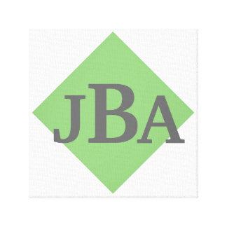 Control verde con iniciales de encargo lona estirada galerias