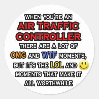 Controlador aéreo divertido… OMG WTF LOL Pegatina Redonda