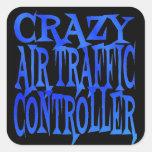 Controlador aéreo loco pegatina cuadradas