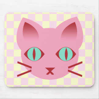 Controles del rosa y del amarillo del gato del gat mouse pads