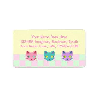 Controles del sorbete de los gatos del gatito del etiqueta de dirección