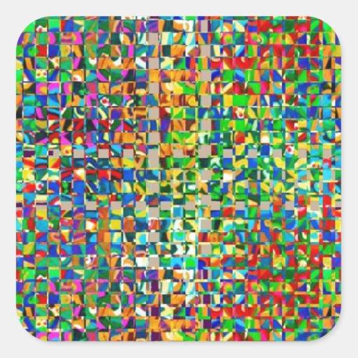Controles VERDES del mármol: Creación gráfica Pegatina Cuadrada