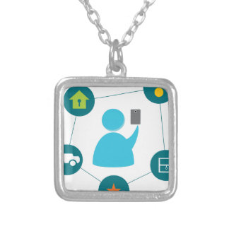 Controlling Home with Smartphone Square Pendant Necklace