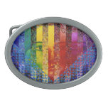Conundrum I –Abstract Rainbow Woman Goddess Oval Belt Buckles