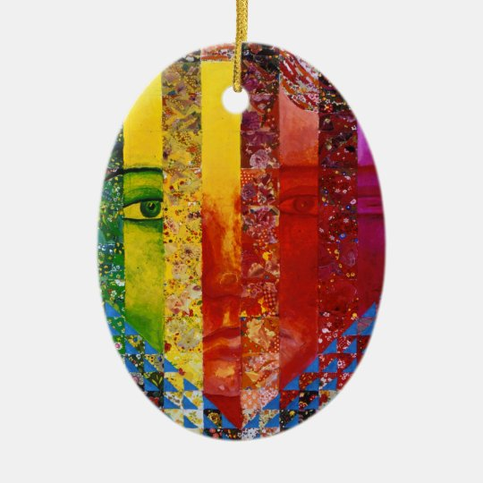 Conundrum I – Abstract Rainbow Woman Goddess Ceramic Ornament