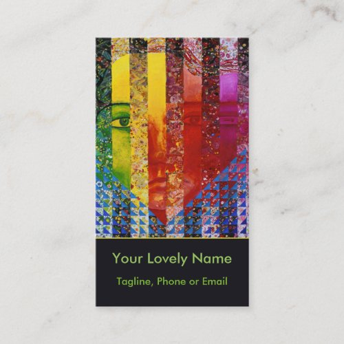 Conundrum I Abstract Rainbow Woman Goddess Collage Business Card