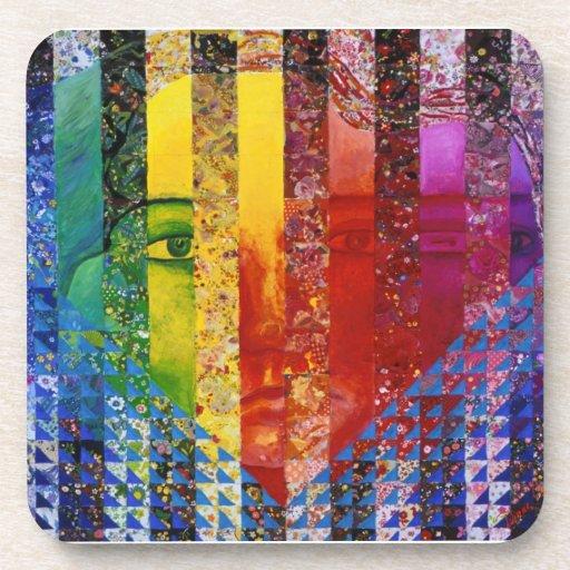Conundrum I – Abstract Rainbow Woman Goddess Coasters