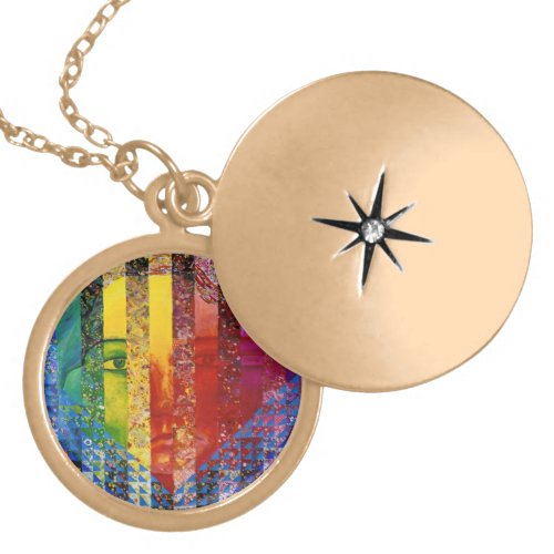 Conundrum I –Abstract Rainbow Woman Goddess Locket Necklace
