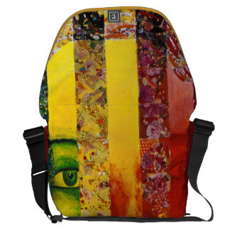 Conundrum I –Abstract Rainbow Woman Goddess Courier Bags