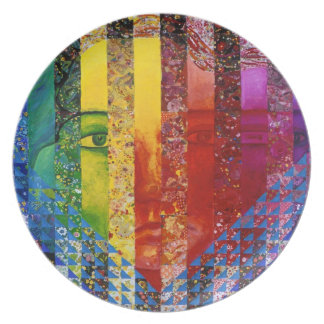 Conundrum I – Abstract Rainbow Woman Goddess Party Plates