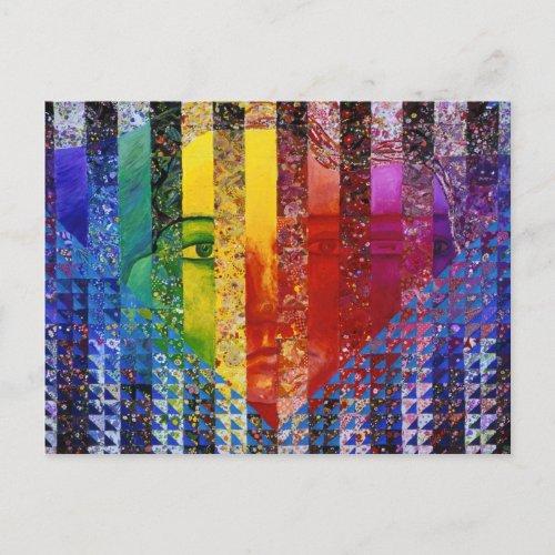Conundrum I – Abstract Rainbow Woman Goddess Postcard