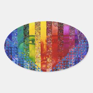 Conundrum I – Abstract Rainbow Woman Goddess Oval Sticker