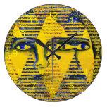 Conundrum II – Abstract Golden & Sapphire Goddess Clocks