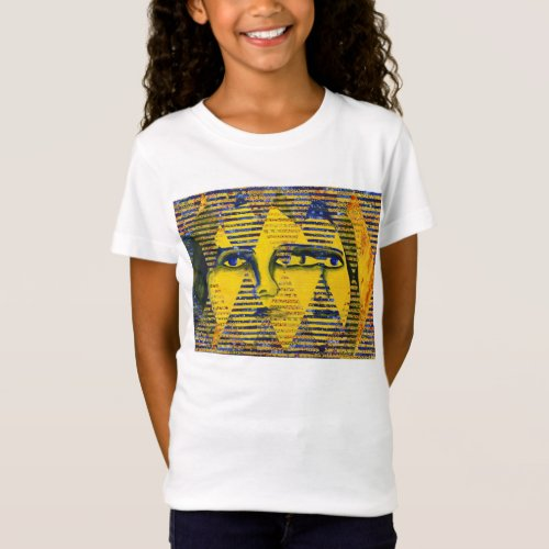 Conundrum II – Abstract Golden & Sapphire Goddess T-Shirt