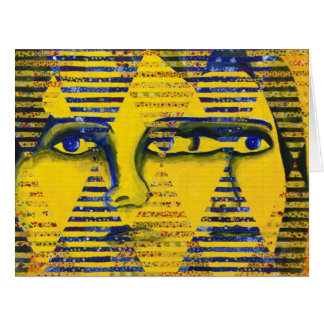 Conundrum II Golden Sapphire Goddess Abstract Greeting Cards